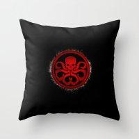 hydra Throw Pillows featuring Hydra grunge by erndub