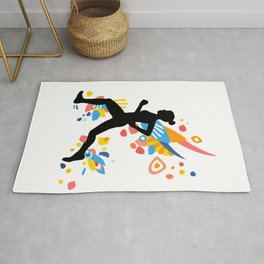 Colorful Energy - Running Girl Silhouette Rug