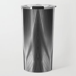 Architectural abstract captured in black and white from low perspective rendering a dramatic view. Travel Mug