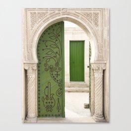 Green doors, Arabic style Canvas Print