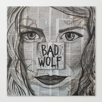 bad wolf Canvas Prints featuring Bad Wolf  by Chrissie Brown Art