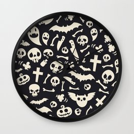 Halloween Symbols Pattern Contrast Wall Clock