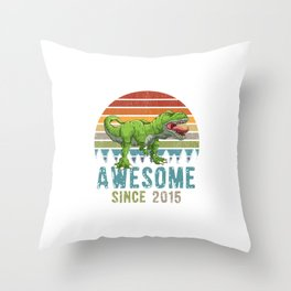 Awesome Since 2015 T-Rex Dinosaur 4. Year Birthday Throw Pillow
