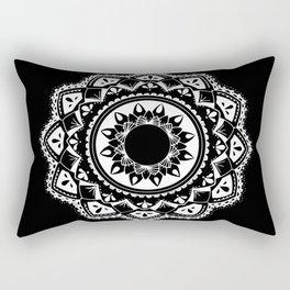 Warrior white mandala on black Rectangular Pillow