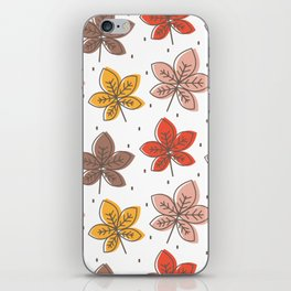 cute colorful chestnut leaves pattern background illustration iPhone Skin