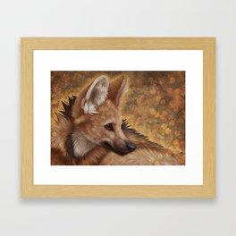 Maned Wolf Portrait Framed Art Print