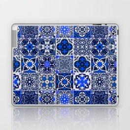 -A34- Blue Traditional Floral Moroccan Tiles. Laptop & iPad Skin