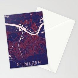 Nijmegen, Netherlands, Blue, White, City, Map Stationery Cards