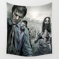 the walking dead Wall Tapestries featuring Zombie by Joe Roberts