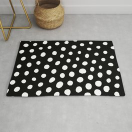 White Dots with Black Background Rug