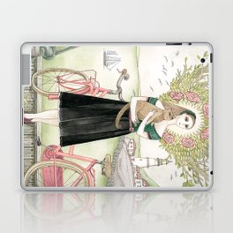 Girl and cat with pink bicycle Laptop & iPad Skin