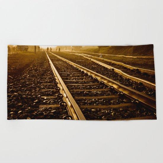 Railway Tracks at sunrise and twilight sky Beach Towel