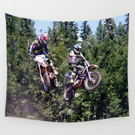Closing In - Motocross Racers Wall Tapestry