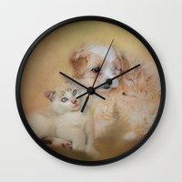 best friends Wall Clocks featuring Best Friends by Jai Johnson