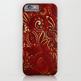 Red Burgundy Deep Gold Paisley Floral Pattern Print iPhone Case