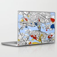 stockholm Laptop & iPad Skins featuring Stockholm mondrian by Mondrian Maps