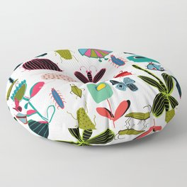 Insect watercolor white Floor Pillow