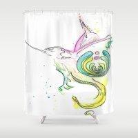 bass Shower Curtains featuring Bass Drop by Little Less Lovely