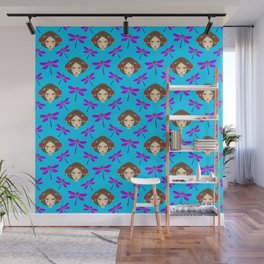 Pretty purple dragonflies, faces of girl dolls. Feminine folk artistic gorgeous azure blue pattern Wall Mural