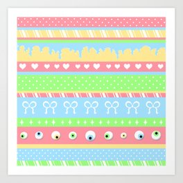 Creepy Cute Stripes Art Print