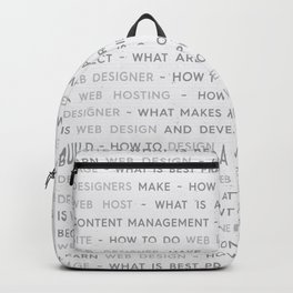 Web Design Keywords Poster. Grey. Backpack