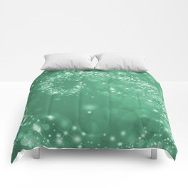 Elegant green white abstract starry Christmas pattern Comforters