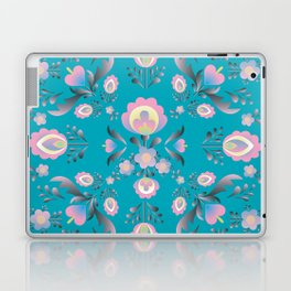 Dusty Blue Folk Flowers Laptop & iPad Skin