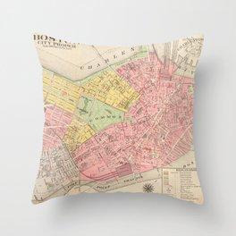 Vintage Map of Boston MA (1876) Throw Pillow