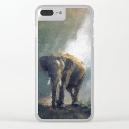 Elephant on patrol styled painting wall art poster, Big Wall Art, Wildlife, Popular Art, Home decor Clear iPhone Case