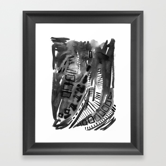 Abstract black and white painting for a modern interior. Framed Art Print