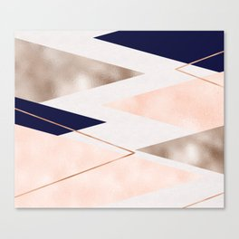 Rose gold french navy geometric Canvas Print