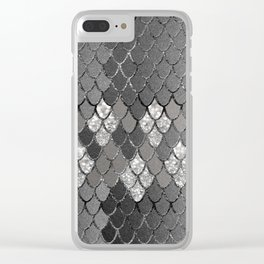 Mermaid Scales Silver Gray Glitter Glam #1 #shiny #decor #art #society6 Clear iPhone Case