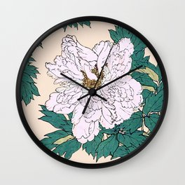 White Peonies Wall Clock