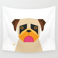 pug Wall Tapestries featuring Pug by Page 84 Design