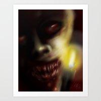 candle lit horror face Art Print