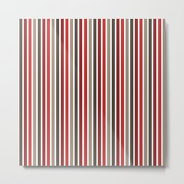 Red Gray Brown Cabin Striped Pattern Metal Print