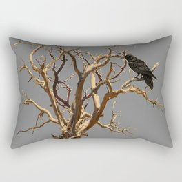 RAVEN ON DEAD TREE GREY ART Rectangular Pillow