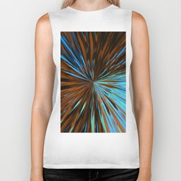 psychedelic splash painting abstract pattern in brown and blue Biker Tank