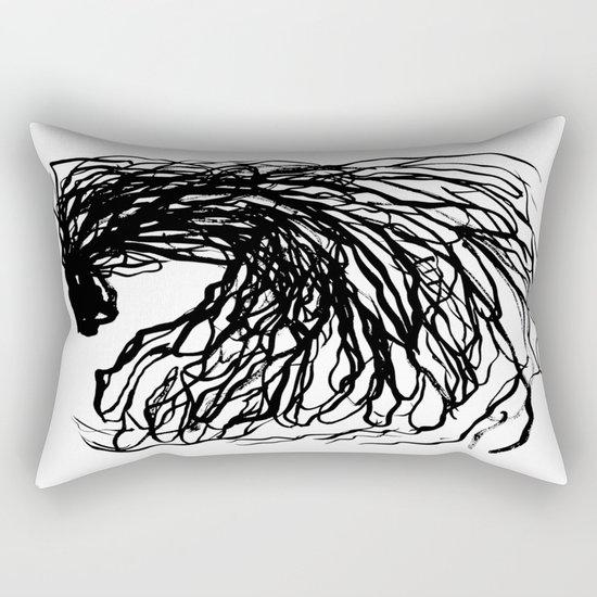 Black and white abstract brushstroke modern minimal monochromatic art print home decor college dorm Rectangular Pillow