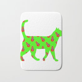 Snowman Cat Red Bath Mat