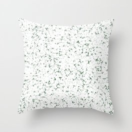 White with Green Splatter Print Throw Pillow