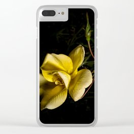 Yellow rose on black -3 Clear iPhone Case