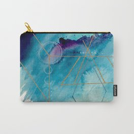 Galaxy Series 1 - a blue and gold abstract mixed media set Carry-All Pouch
