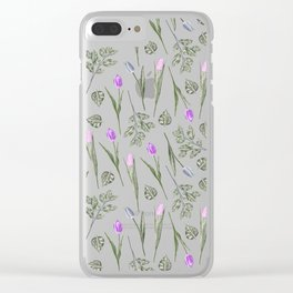 Elegant lilac blush pink blue watercolor tulips pattern Clear iPhone Case