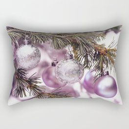 Pink Christmas shimmering baubles twig Rectangular Pillow