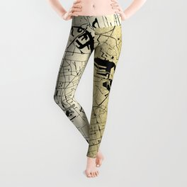 Amsterdam Gold on Black Street Map Leggings