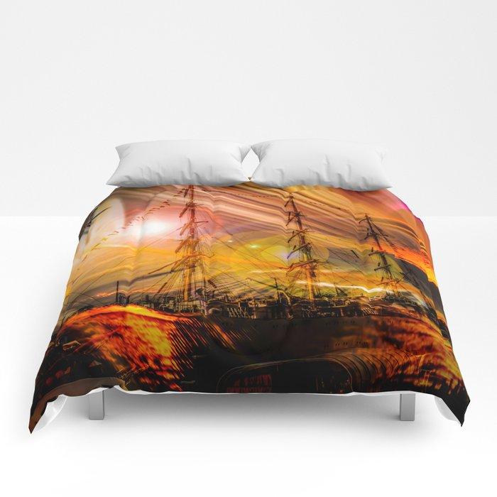 Sailing ships sunset Comforters