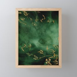 Winter Gold Flowers On Emerald Marble Texture Framed Mini Art Print