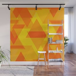 Bright yellow and orange large triangles in the intersection and overlay. Wall Mural
