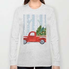 Christmas Red PickUp Truck on a Snowy Road Long Sleeve T-shirt